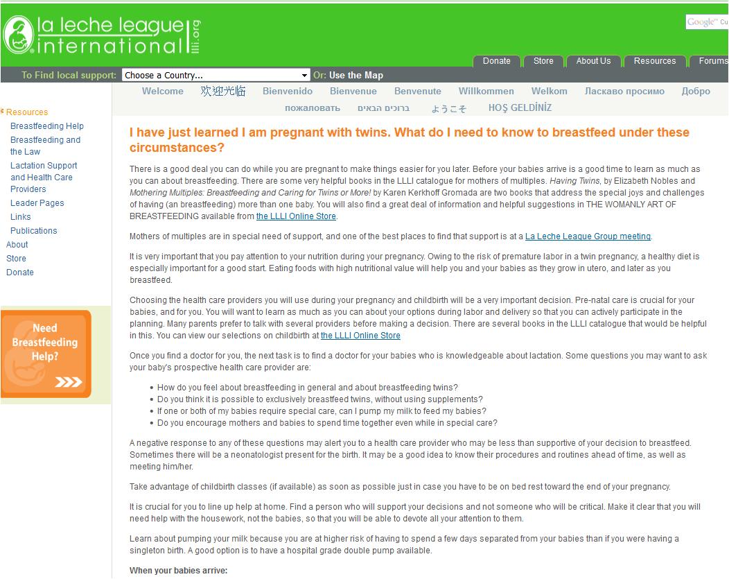 LLL Breastfeeding Multiples | Breastfeeding Resources Ontario